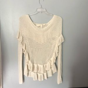 Anthropologie angel of the north ruffled sweater M